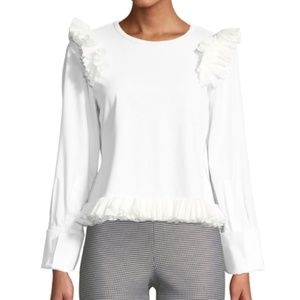 OPENING CEREMONY White Ruffle Long-Sleeve Top